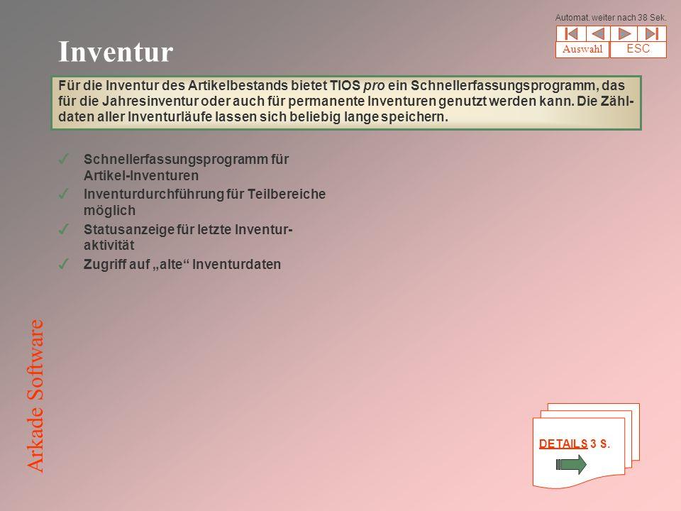 Inventur 4Schnellerfassungsprogramm für Artikel-Inventuren 4Inventurdurchführung für Teilbereiche möglich 4Statusanzeige für letzte Inventur- aktivität 4Zugriff auf alte Inventurdaten Für die Inventur des Artikelbestands bietet TIOS pro ein Schnellerfassungsprogramm, das für die Jahresinventur oder auch für permanente Inventuren genutzt werden kann.