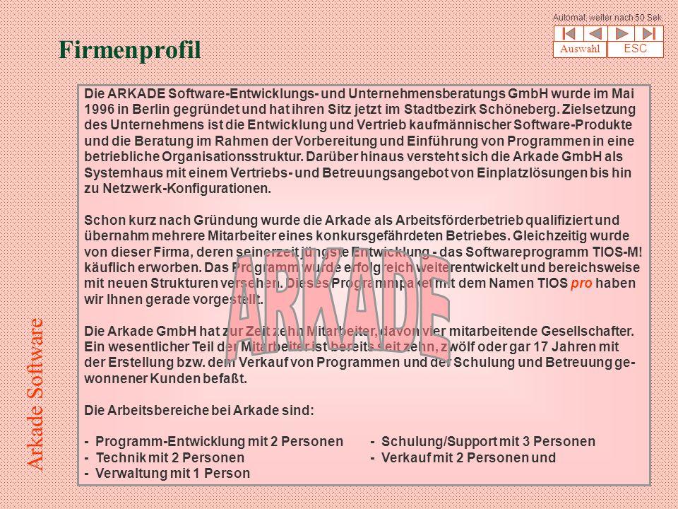 Firmenprofil Die ARKADE Software-Entwicklungs- und Unternehmensberatungs GmbH wurde im Mai 1996 in Berlin gegründet und hat ihren Sitz jetzt im Stadtbezirk Schöneberg.