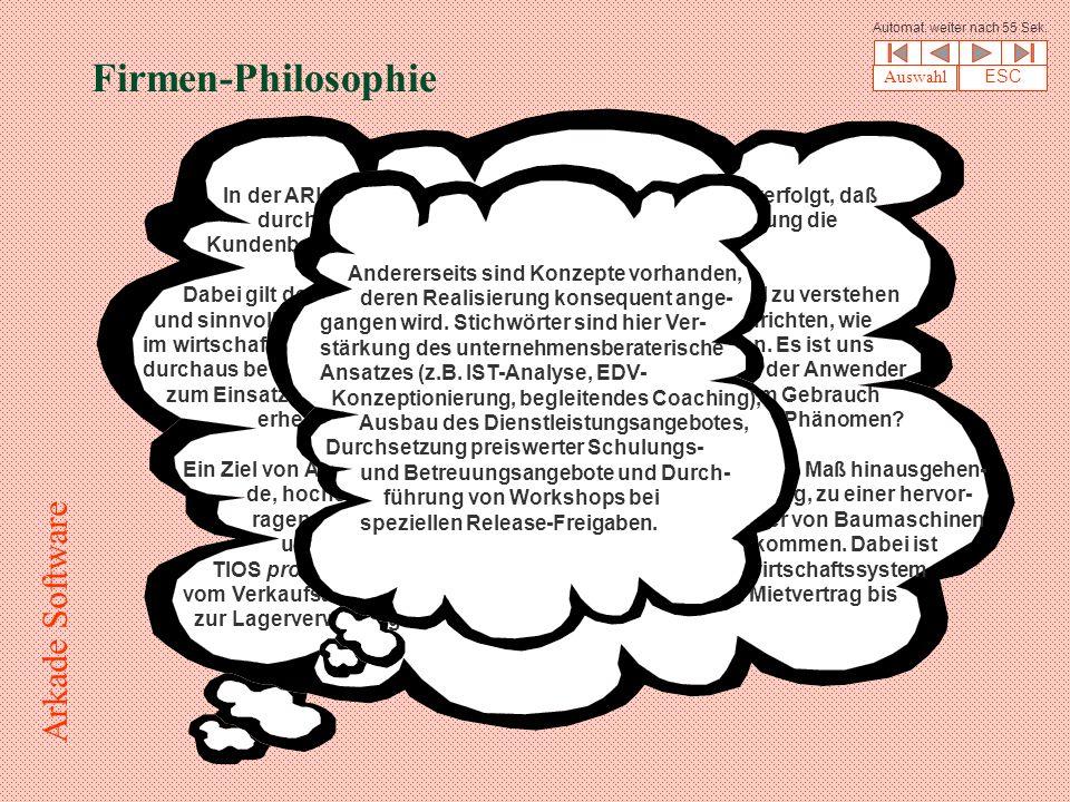 Firmen-Philosophie In der ARKADE-Firmenphilosophie wird der Gedanke verfolgt, daß durch eine deutlich branchenbezogene Spezialisierung die Kundenbetreuung zu besonderer Tiefe gelangt.