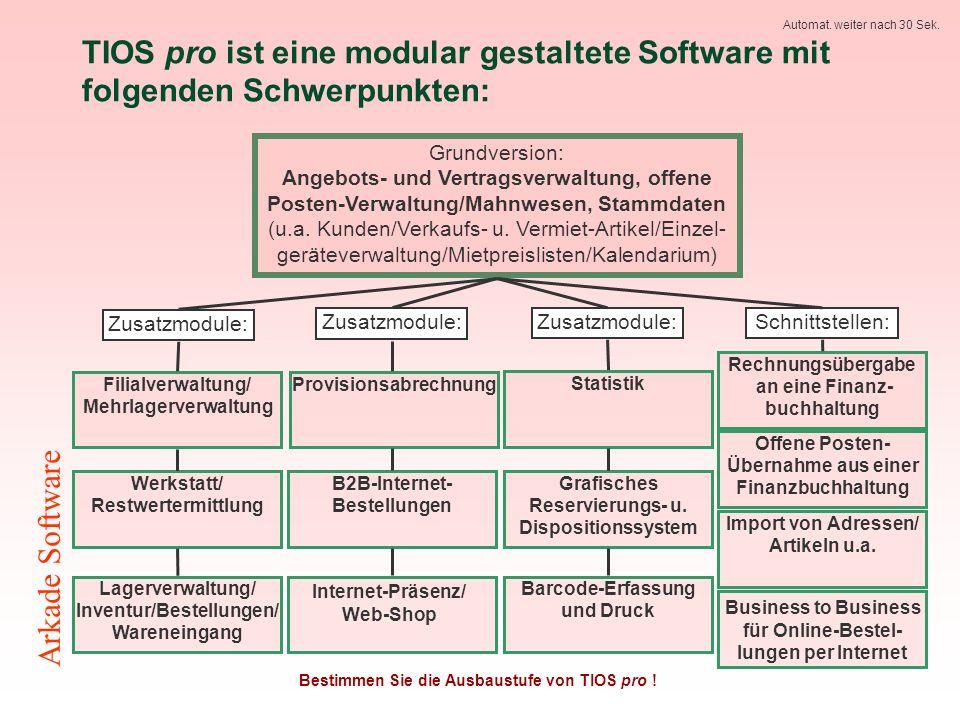 TIOS pro ist eine modular gestaltete Software mit folgenden Schwerpunkten: Bestimmen Sie die Ausbaustufe von TIOS pro .
