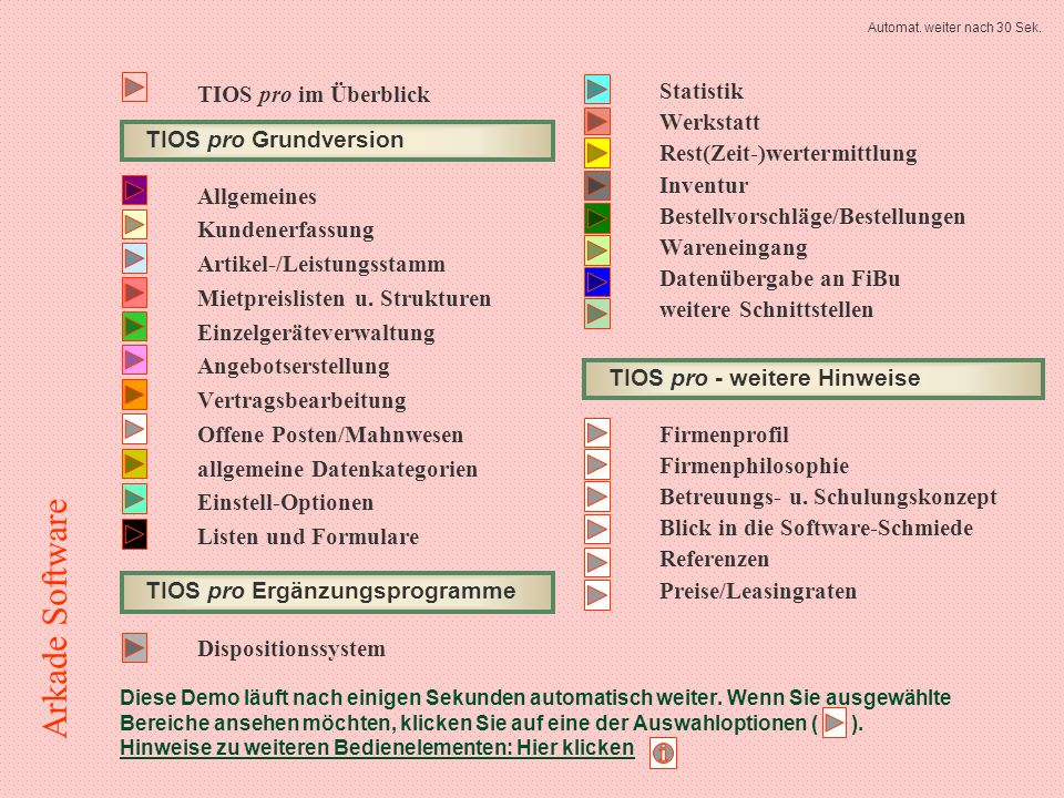 OPo-Verwaltung: Mahnvorschläge Lassen Sie sich zunächst einen automatischen Mahnvorschlag erstellen Auswahl ESC 3 von 4 Arkade Software
