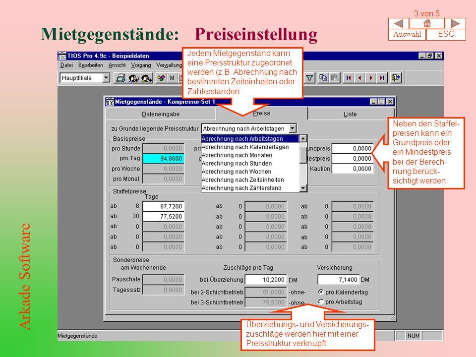 Mietgegenstände: Preiseinstellung Jedem Mietgegenstand kann eine Preisstruktur zugeordnet werden (z.B.