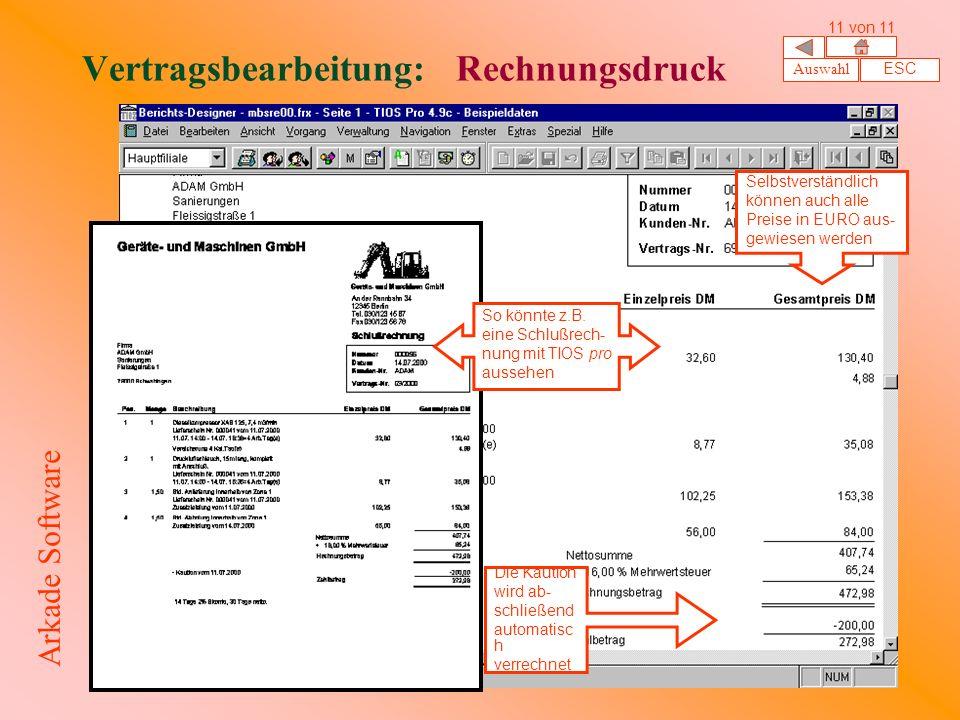 Vertragsbearbeitung: Rechnungsdruck So könnte z.B.