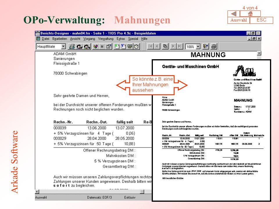 OPo-Verwaltung: Mahnungen So könnte z.B.