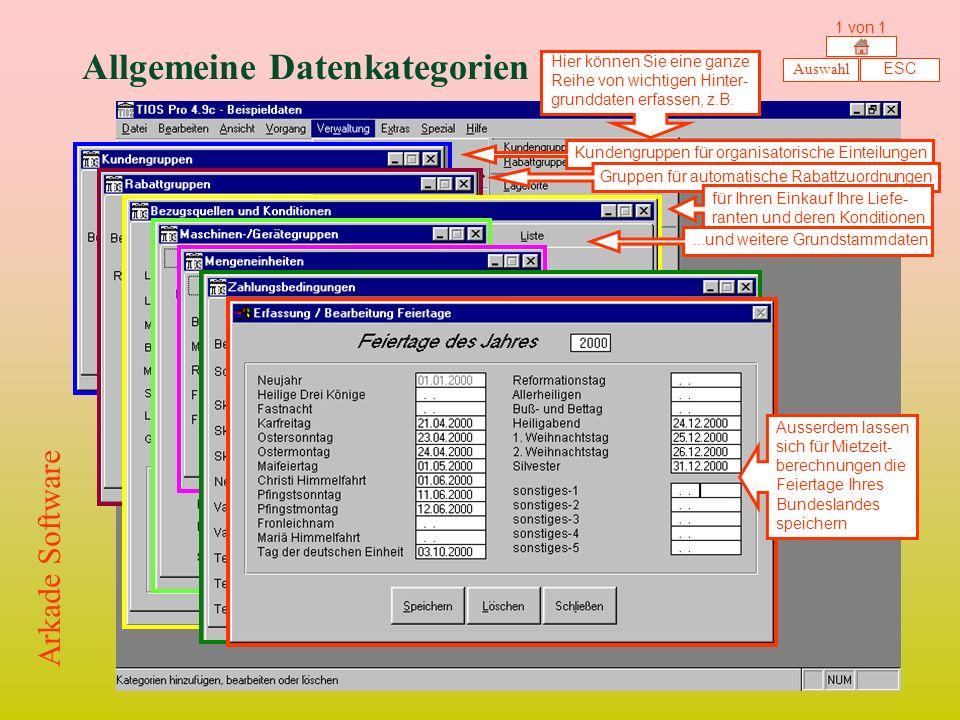 Allgemeine Datenkategorien Hier können Sie eine ganze Reihe von wichtigen Hinter- grunddaten erfassen, z.B.