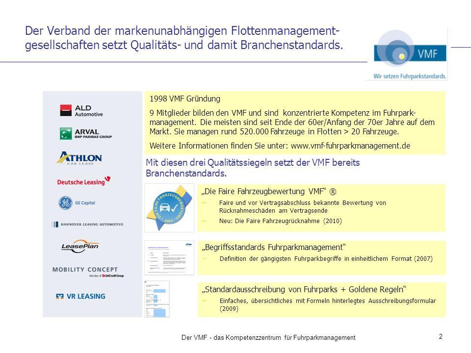 2 Der VMF - das Kompetenzzentrum für Fuhrparkmanagement Der Verband der markenunabhängigen Flottenmanagement- gesellschaften setzt Qualitäts- und damit Branchenstandards.