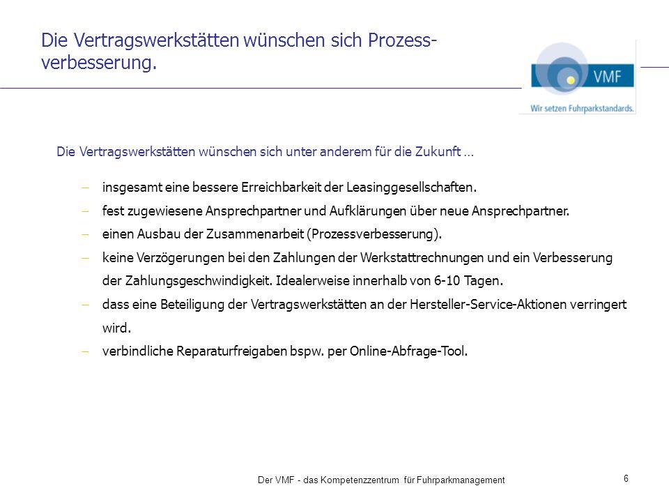 VMF Service Plus ist Prozessver- besserung auf der ganzen Linie: vom Abgleich des erlaubten Leistungs- umfangs, über die Freigabe, die Rechnungsprüfung und Rechnungs- dokumentation, ebenso für die Zahlung.
