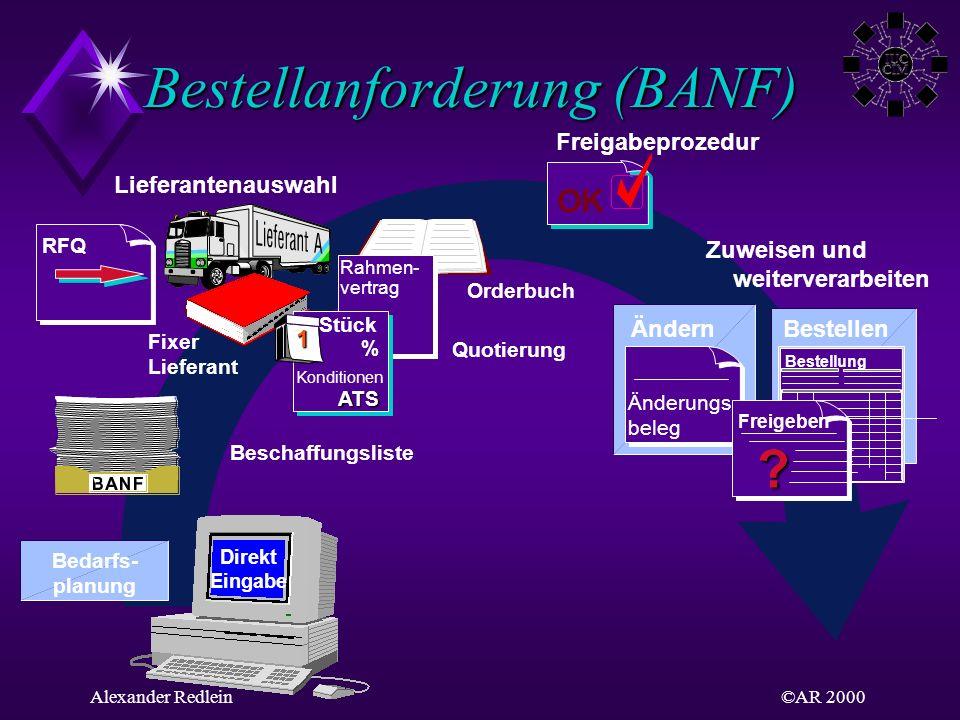 ©AR 2000Alexander Redlein Bestellanforderung (BANF) Direkt Eingabe Lieferantenauswahl Freigabeprozedur Zuweisen und weiterverarbeiten BestellenÄndern