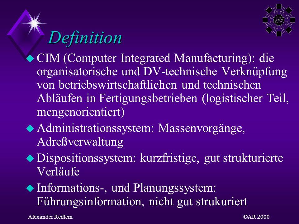 ©AR 2000Alexander Redlein Definition u CIM (Computer Integrated Manufacturing): die organisatorische und DV-technische Verknüpfung von betriebswirtsch
