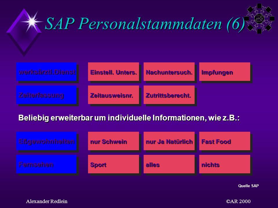 ©AR 2000Alexander Redlein SAP Personalstammdaten (6) Einstell. Unters. Nachuntersuch.Impfungen Zeitausweisnr.Zutrittsberecht. Eßgewohnheiten Fernsehen