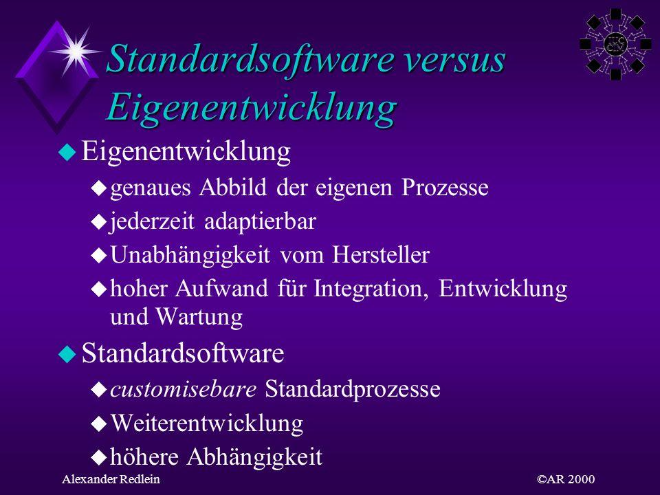 ©AR 2000Alexander Redlein Standardsoftware versus Eigenentwicklung u Eigenentwicklung u genaues Abbild der eigenen Prozesse u jederzeit adaptierbar u