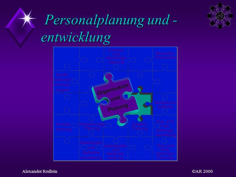 ©AR 2000Alexander Redlein Personalplanung und - entwicklung Personalplanung und - entwicklung Qualifi- kationen/ Anforde- rungen Einsatz- planung Verw