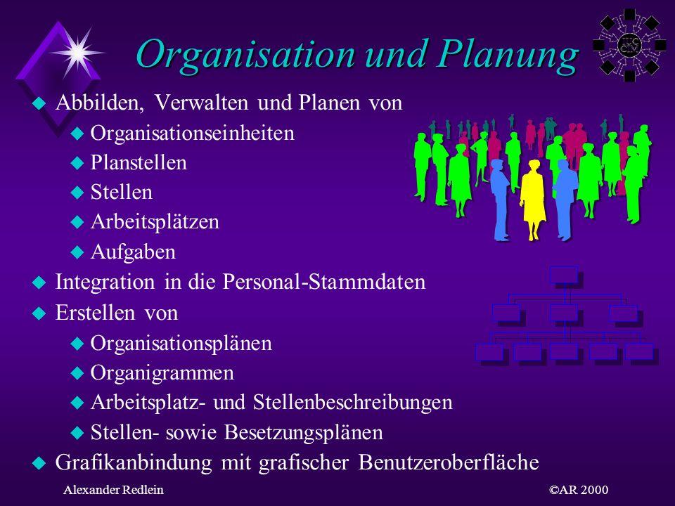 ©AR 2000Alexander Redlein Organisation und Planung Organisation und Planung Abbilden, Verwalten und Planen von Organisationseinheiten Planstellen Stel