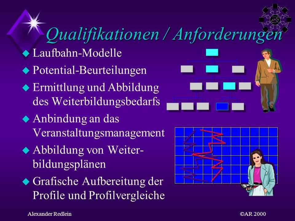 ©AR 2000Alexander Redlein Qualifikationen / Anforderungen Qualifikationen / Anforderungen u Laufbahn-Modelle u Potential-Beurteilungen u Ermittlung un