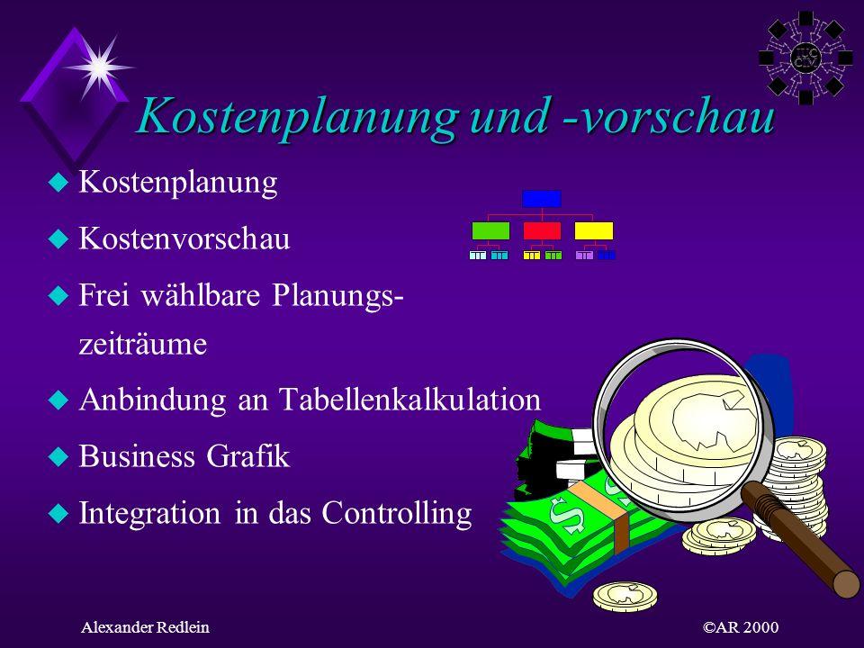 ©AR 2000Alexander Redlein u Kostenplanung u Kostenvorschau u Frei wählbare Planungs- zeiträume u Anbindung an Tabellenkalkulation u Business Grafik u
