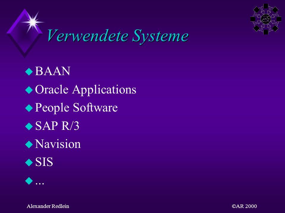 ©AR 2000Alexander Redlein Beispiel SAP R/3 R/3 Client / Server ABAP/4 FIFinanz-wesen COControlling AMAnlagen-wirtschaft PSProjekt-system WFWorkflow ISBranchen-lösungen MMMaterialwirt-schaft HRPersonal-wirtschaft SDVertrieb PPProduktions-planung QMQualitäts- Manage- ment PMInstand-haltung Integrierte Gesamt- lösungen Offene Systeme Client / Server- Architektur Unternehmens- Datenmodell Branchen- neutralität Multi- nationalität Umfassende Funktionalität