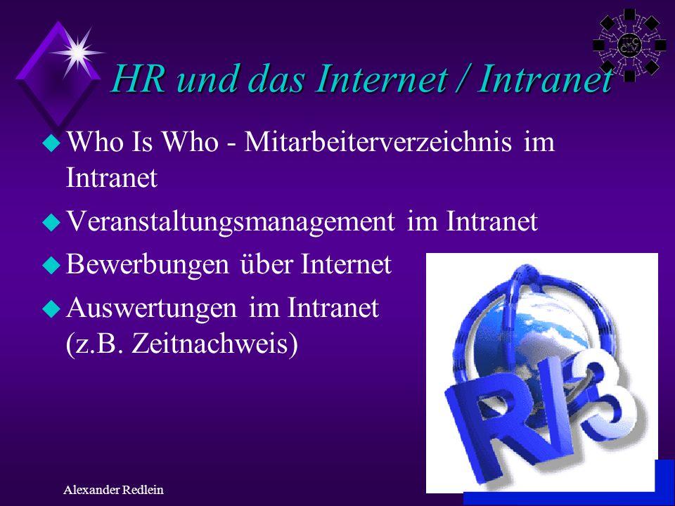 ©AR 2000Alexander Redlein HR und das Internet / Intranet u Who Is Who - Mitarbeiterverzeichnis im Intranet u Veranstaltungsmanagement im Intranet u Be