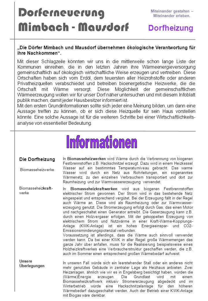 Dorferneuerung Mimbach - Mausdorf Miteinander gestalten – Miteinander erleben. Dorfheizung Die Dörfer Mimbach und Mausdorf übernehmen ökologische Vera