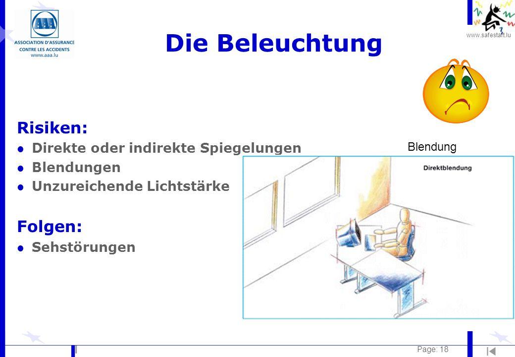 www.safestart.lu Page: 18 Die Beleuchtung Risiken: l Direkte oder indirekte Spiegelungen l Blendungen l Unzureichende Lichtstärke Folgen: l Sehstörung