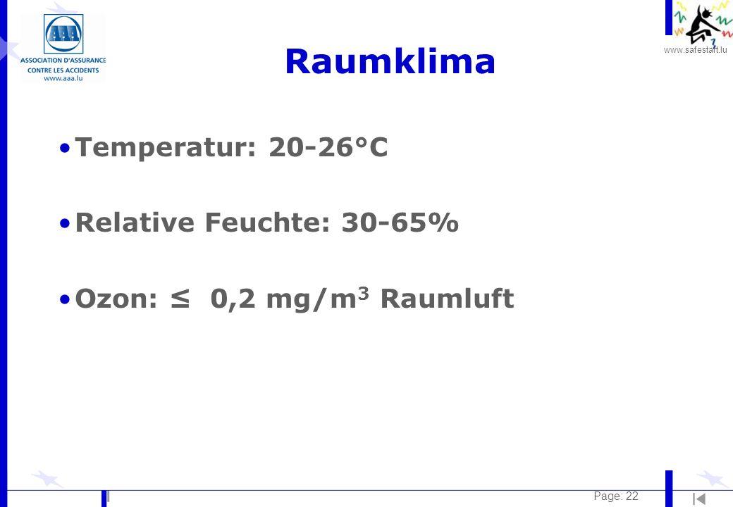 www.safestart.lu Page: 22 Raumklima Temperatur: 20-26°C Relative Feuchte: 30-65% Ozon: 0,2 mg/m 3 Raumluft