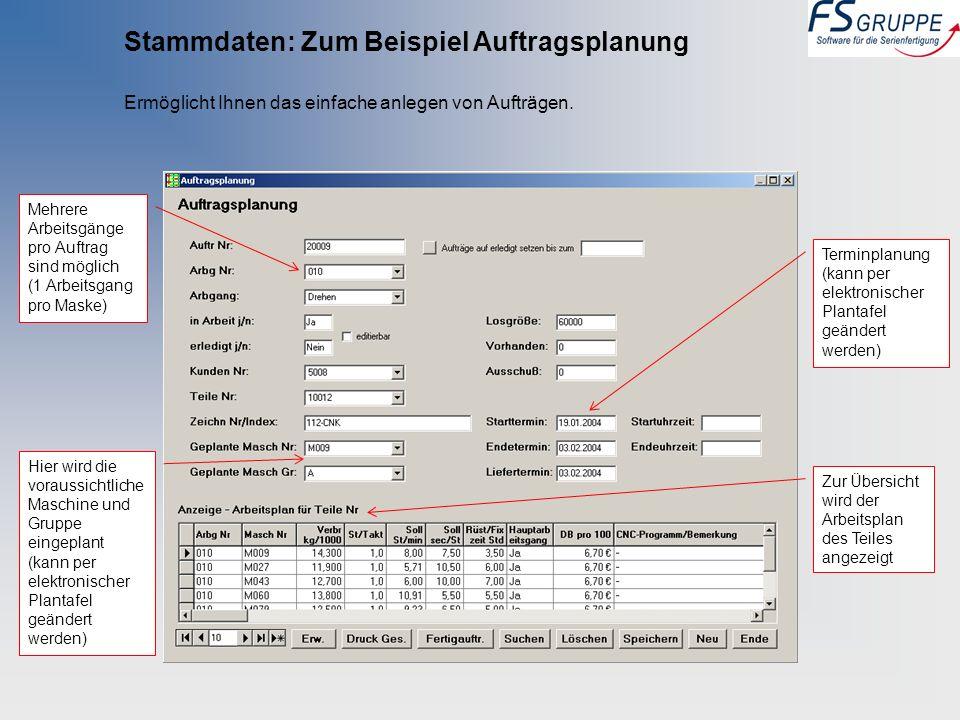 Stammdaten: Zum Beispiel Auftragsplanung Ermöglicht Ihnen das einfache anlegen von Aufträgen. Mehrere Arbeitsgänge pro Auftrag sind möglich (1 Arbeits