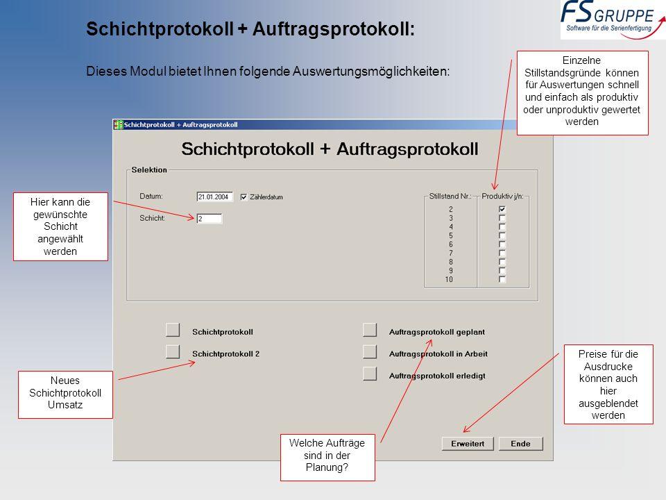 Schichtprotokoll + Auftragsprotokoll: Dieses Modul bietet Ihnen folgende Auswertungsmöglichkeiten: Einzelne Stillstandsgründe können für Auswertungen
