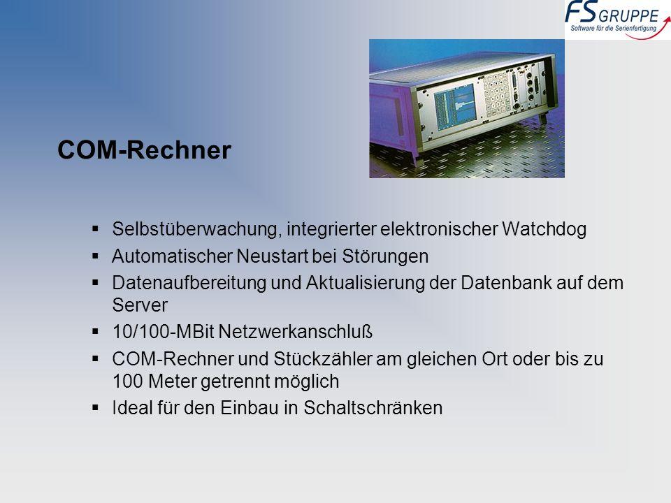 COM-Rechner Selbstüberwachung, integrierter elektronischer Watchdog Automatischer Neustart bei Störungen Datenaufbereitung und Aktualisierung der Date