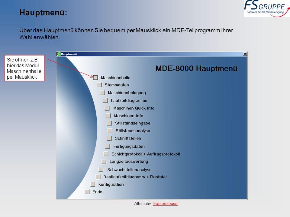 Hauptmenü: Über das Hauptmenü können Sie bequem per Mausklick ein MDE-Teilprogramm Ihrer Wahl anwählen. Alternativ: ExplorerbaumExplorerbaum Sie öffne