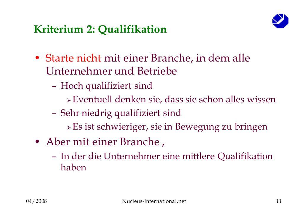 04/2008Nucleus-International.net11 Kriterium 2: Qualifikation Starte nicht mit einer Branche, in dem alle Unternehmer und Betriebe –Hoch qualifiziert sind Eventuell denken sie, dass sie schon alles wissen –Sehr niedrig qualifiziert sind Es ist schwieriger, sie in Bewegung zu bringen Aber mit einer Branche, –In der die Unternehmer eine mittlere Qualifikation haben