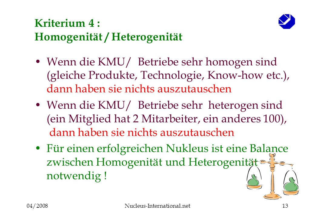 04/2008Nucleus-International.net13 Kriterium 4 : Homogenität / Heterogenität Wenn die KMU/ Betriebe sehr homogen sind (gleiche Produkte, Technologie, Know-how etc.), dann haben sie nichts auszutauschen Wenn die KMU/ Betriebe sehr heterogen sind (ein Mitglied hat 2 Mitarbeiter, ein anderes 100), dann haben sie nichts auszutauschen Für einen erfolgreichen Nukleus ist eine Balance zwischen Homogenität und Heterogenität notwendig !