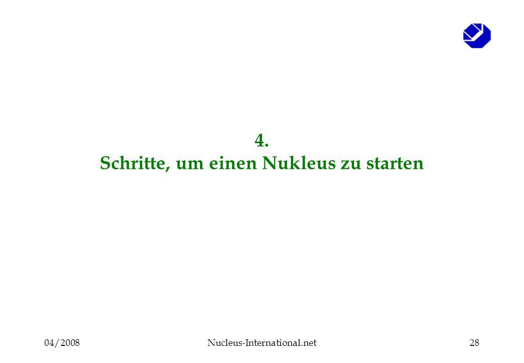 04/2008Nucleus-International.net28 4. Schritte, um einen Nukleus zu starten