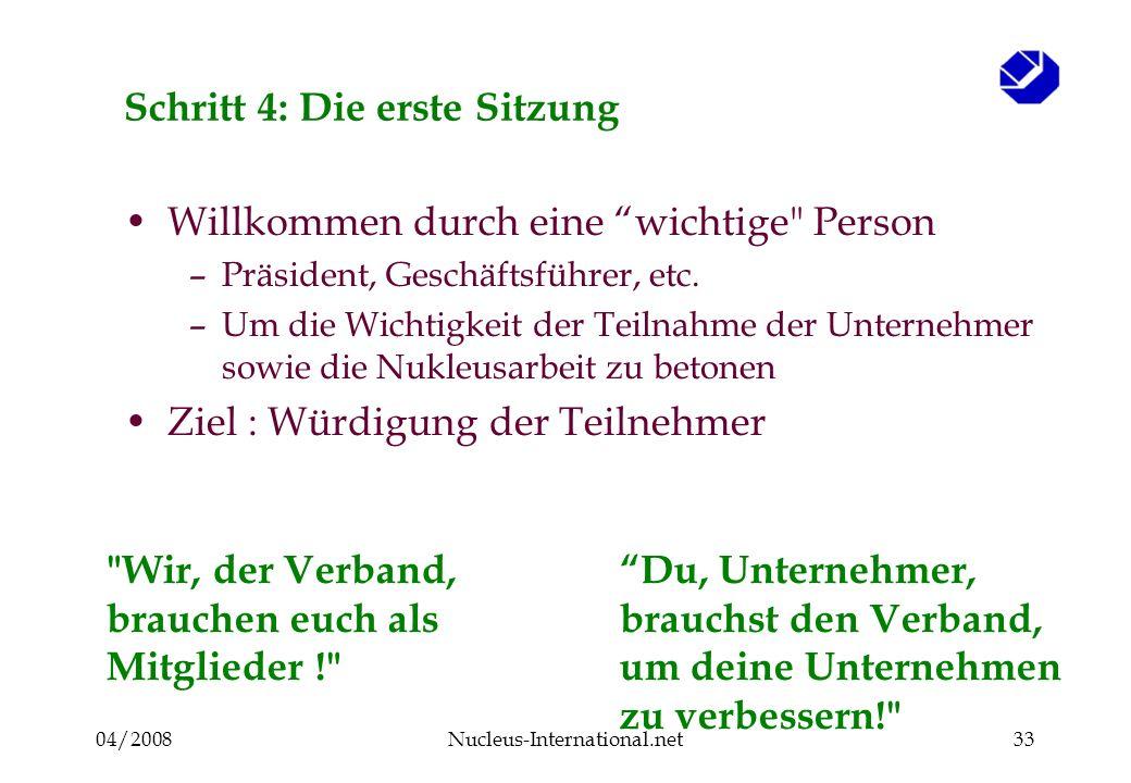 04/2008Nucleus-International.net33 Schritt 4: Die erste Sitzung Willkommen durch eine wichtige Person –Präsident, Geschäftsführer, etc.