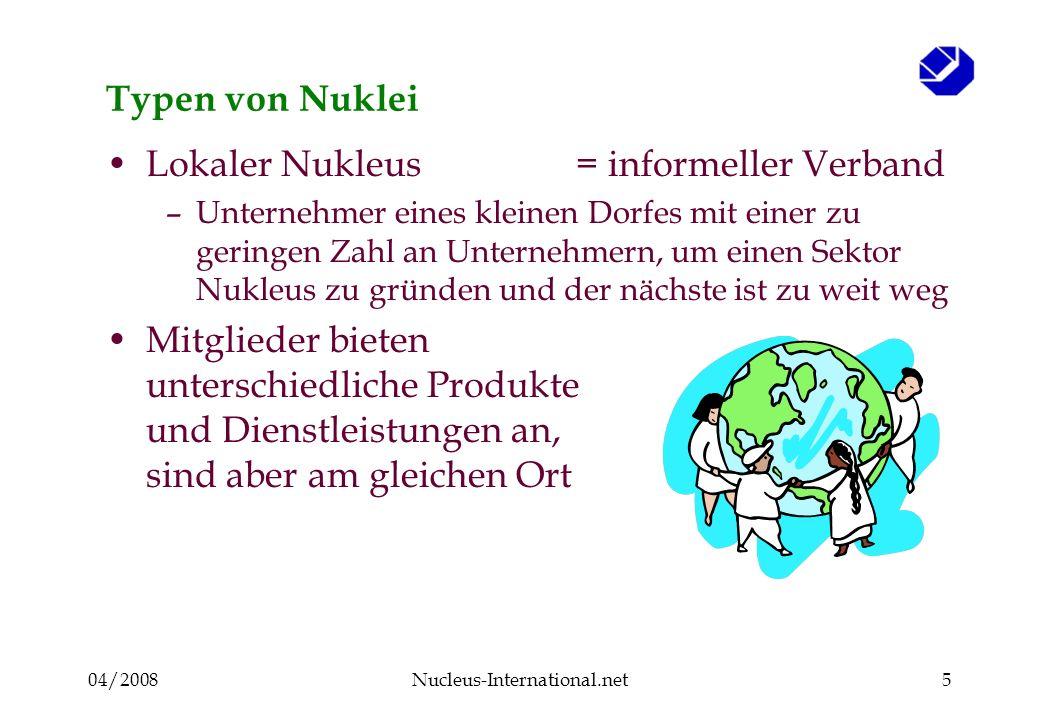 04/2008Nucleus-International.net5 Typen von Nuklei Lokaler Nukleus= informeller Verband –Unternehmer eines kleinen Dorfes mit einer zu geringen Zahl an Unternehmern, um einen Sektor Nukleus zu gründen und der nächste ist zu weit weg Mitglieder bieten unterschiedliche Produkte und Dienstleistungen an, sind aber am gleichen Ort