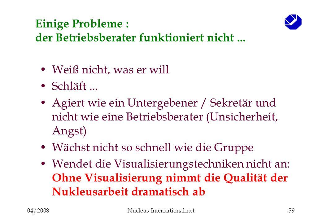 04/2008Nucleus-International.net59 Einige Probleme : der Betriebsberater funktioniert nicht...