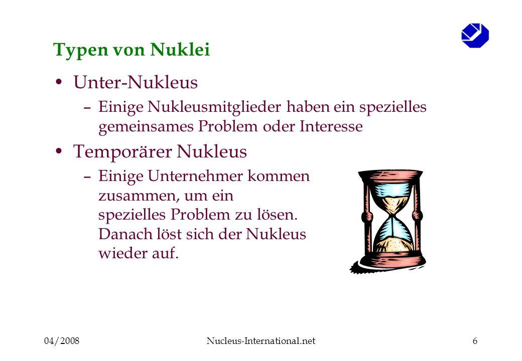 04/2008Nucleus-International.net27 Gruppen- und Einzelbetriebsberater Permanente Fragen : Warum sollte mich ein Unternehmer als einen hilf- reichen Betriebsberater akzeptieren und respektieren.