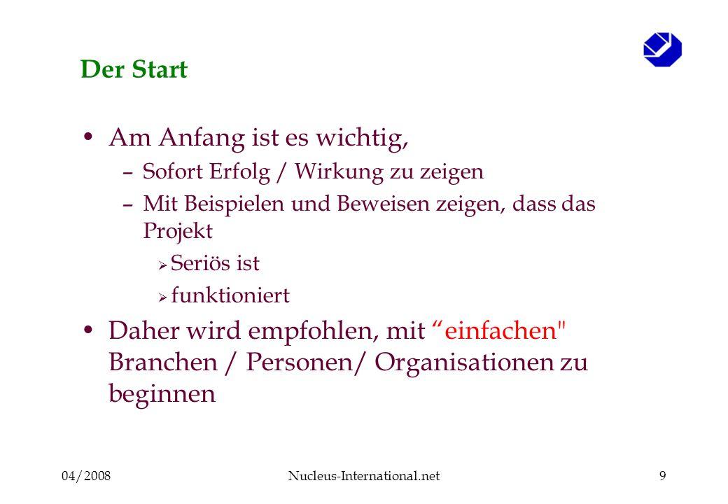 04/2008Nucleus-International.net9 Der Start Am Anfang ist es wichtig, –Sofort Erfolg / Wirkung zu zeigen –Mit Beispielen und Beweisen zeigen, dass das Projekt Seriös ist funktioniert Daher wird empfohlen, mit einfachen Branchen / Personen/ Organisationen zu beginnen