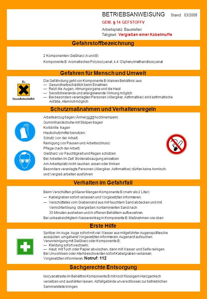 BETRIEBSANWEISUNG Stand: 03/2008 GEM. § 14 GEFSTOFFV Arbeitsplatz: Baustellen Tätigkeit: Vergießen einer Kabelmuffe Gefahrstoffbezeichnung 2 Komponent