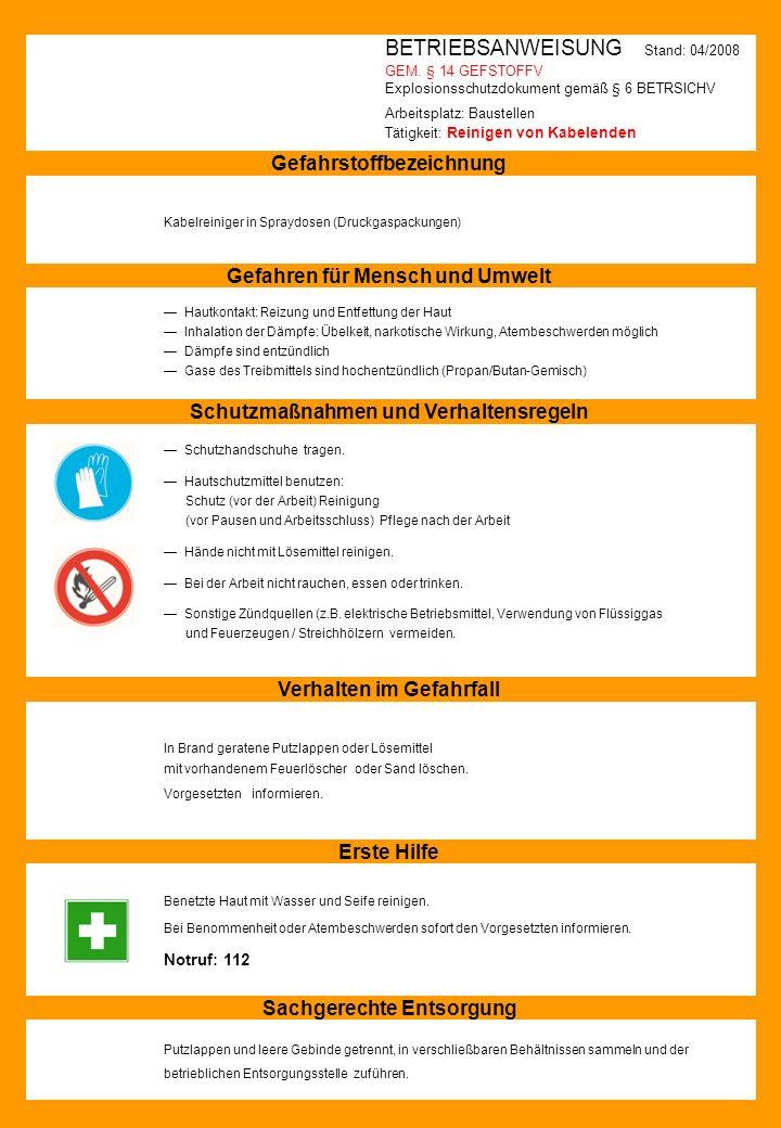 BETRIEBSANWEISUNG Stand: 04/2008 GEM. § 14 GEFSTOFFV Explosionsschutzdokument gemäß § 6 BETRSICHV Arbeitsplatz: Baustellen Tätigkeit: Reinigen von Kab