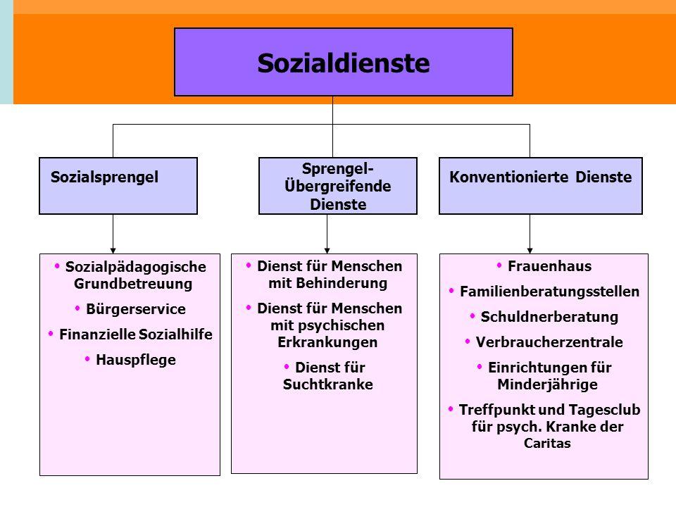 Sozialdienste Sozialsprengel Sprengel- Übergreifende Dienste Konventionierte Dienste Sozialpädagogische Grundbetreuung Bürgerservice Finanzielle Sozia