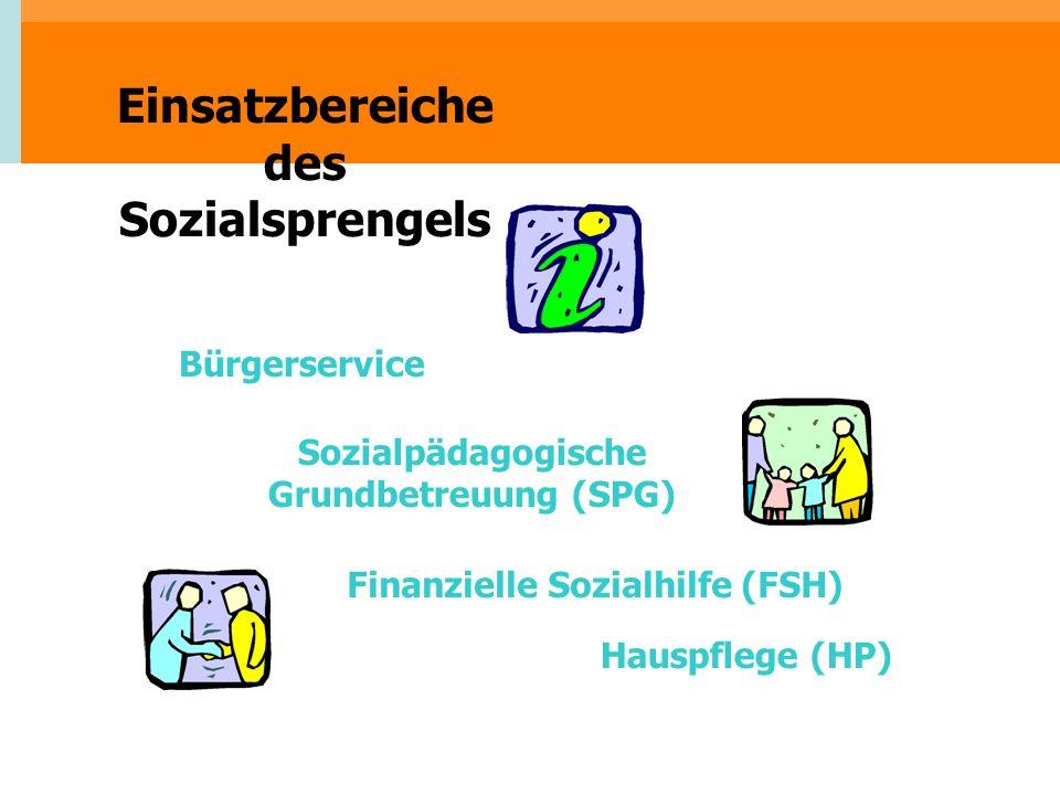 Einsatzbereiche des Sozialsprengels Hauspflege (HP) Finanzielle Sozialhilfe (FSH) Sozialpädagogische Grundbetreuung (SPG) Bürgerservice