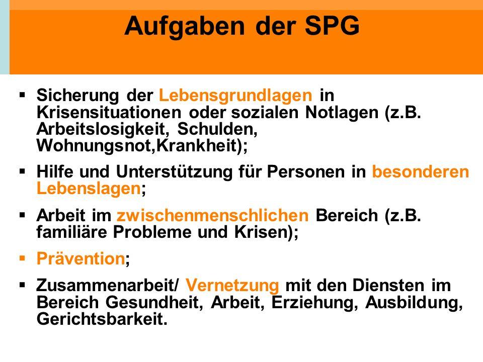 Aufgaben der SPG Sicherung der Lebensgrundlagen in Krisensituationen oder sozialen Notlagen (z.B. Arbeitslosigkeit, Schulden, Wohnungsnot,Krankheit);