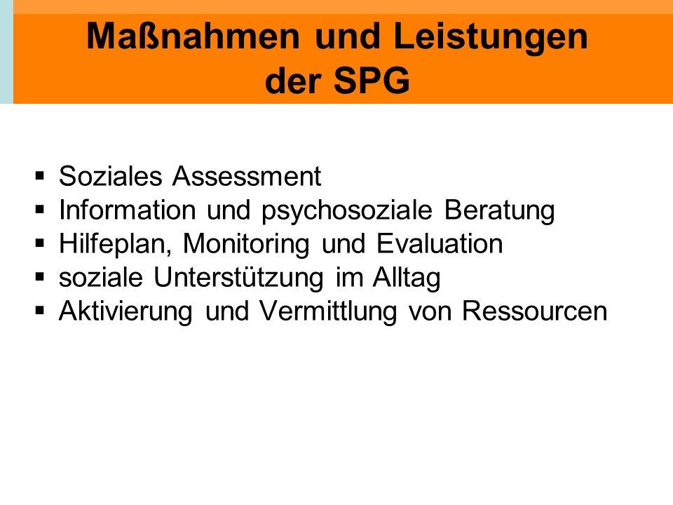 Maßnahmen und Leistungen der SPG Soziales Assessment Information und psychosoziale Beratung Hilfeplan, Monitoring und Evaluation soziale Unterstützung