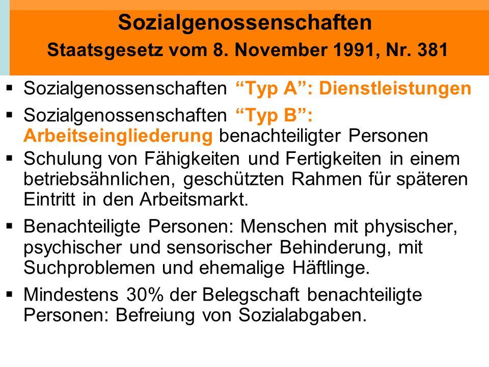 Sozialgenossenschaften Staatsgesetz vom 8. November 1991, Nr. 381 Sozialgenossenschaften Typ A: Dienstleistungen Sozialgenossenschaften Typ B: Arbeits
