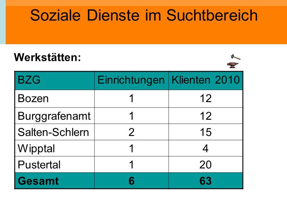 Soziale Dienste im Suchtbereich Werkstätten: BZGEinrichtungenKlienten 2010 Bozen112 Burggrafenamt112 Salten-Schlern215 Wipptal14 Pustertal120 Gesamt66