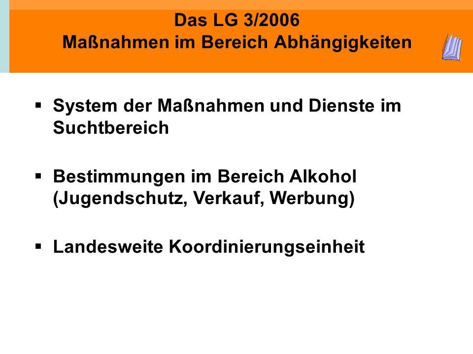 Das LG 3/2006 Maßnahmen im Bereich Abhängigkeiten System der Maßnahmen und Dienste im Suchtbereich Bestimmungen im Bereich Alkohol (Jugendschutz, Verk