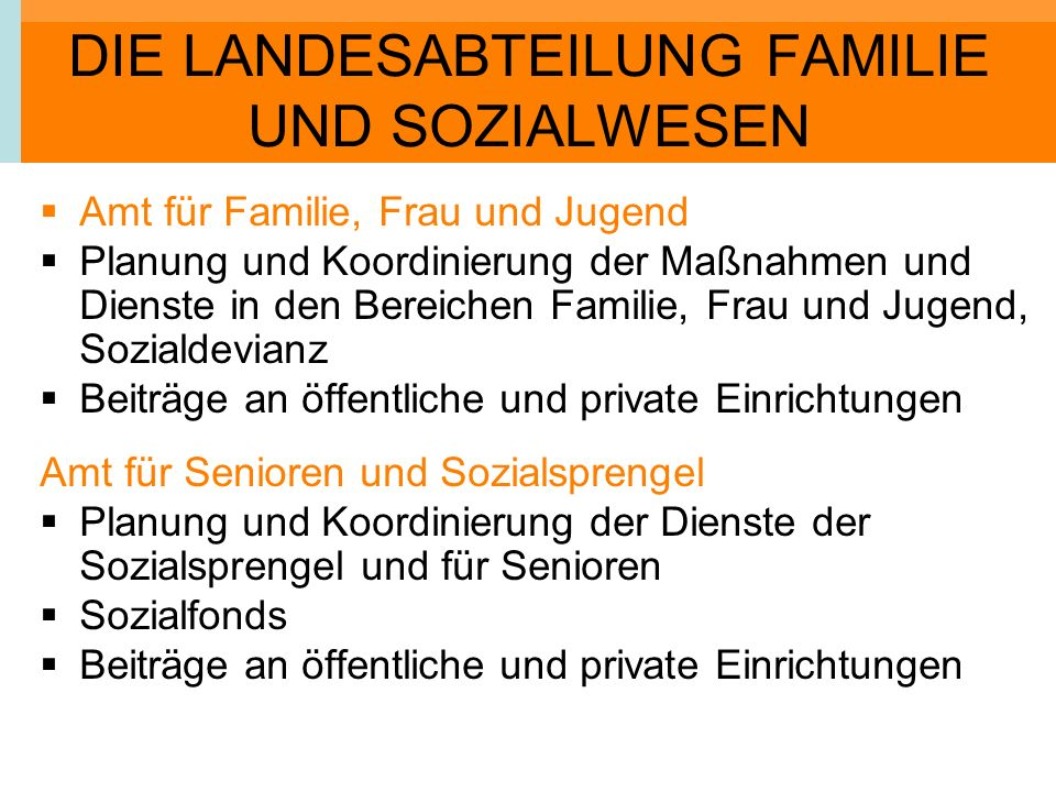 DIE LANDESABTEILUNG FAMILIE UND SOZIALWESEN Amt für Familie, Frau und Jugend Planung und Koordinierung der Maßnahmen und Dienste in den Bereichen Fami