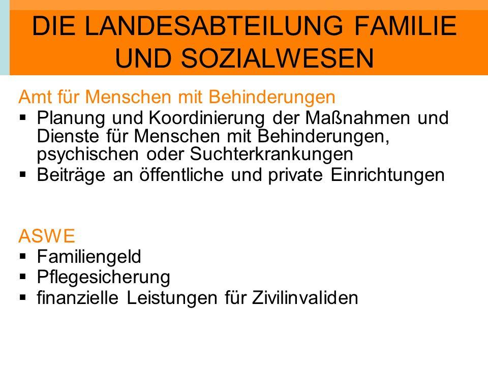 DIE LANDESABTEILUNG FAMILIE UND SOZIALWESEN Amt für Menschen mit Behinderungen Planung und Koordinierung der Maßnahmen und Dienste für Menschen mit Be