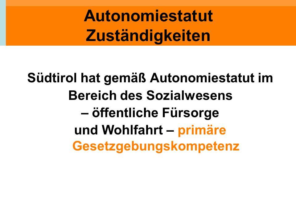 Autonomiestatut Zuständigkeiten Südtirol hat gemäß Autonomiestatut im Bereich des Sozialwesens – öffentliche Fürsorge und Wohlfahrt – primäre Gesetzge