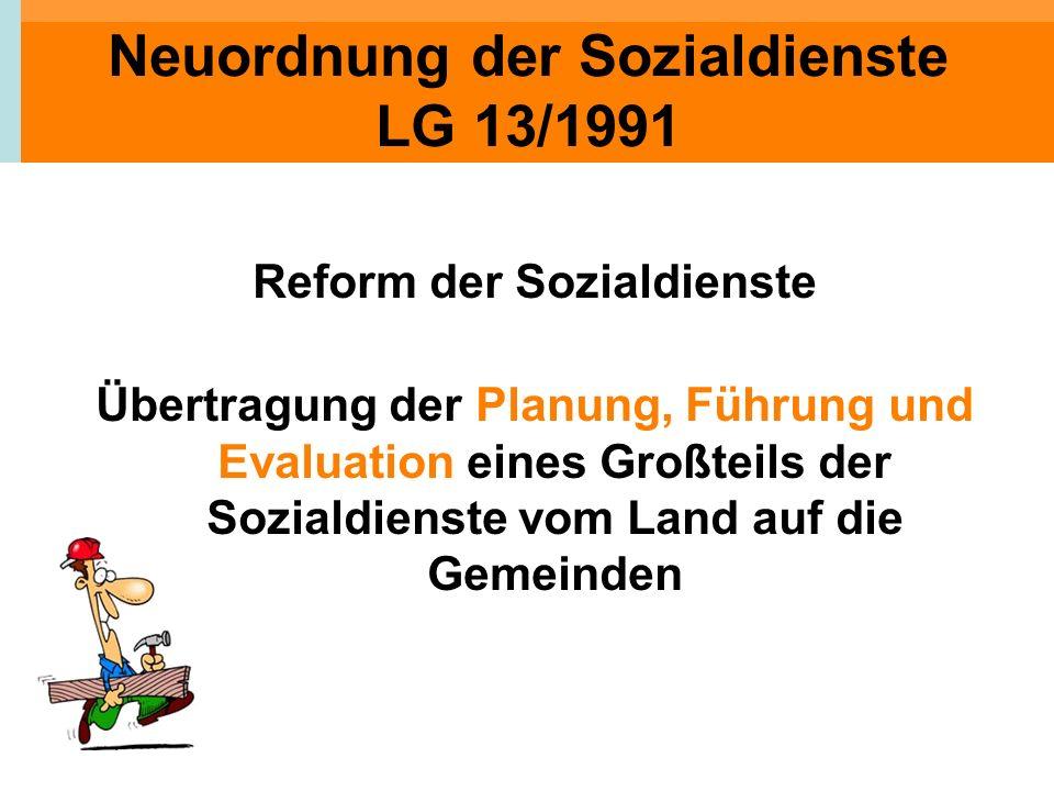 Neuordnung der Sozialdienste LG 13/1991 Reform der Sozialdienste Übertragung der Planung, Führung und Evaluation eines Großteils der Sozialdienste vom