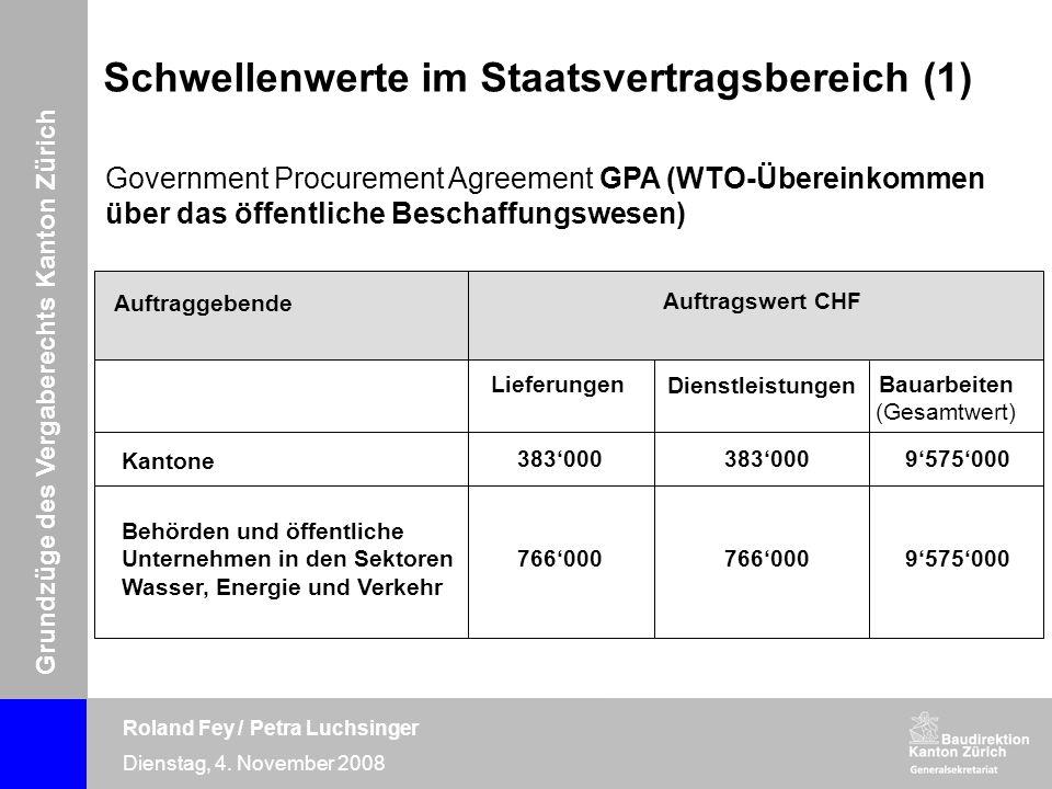 Grundzüge des Vergaberechts Kanton Zürich Roland Fey / Petra Luchsinger Dienstag, 4. November 2008 Government Procurement Agreement GPA (WTO-Übereinko